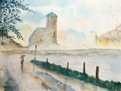 Buscando mi estilo con la acuarela - Iglesia mística. Looking for my own style in watercolor - Mystical Church. HMZEN'14