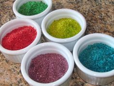 "Homemade edible glitter from sugar...""they all taste the same!"""