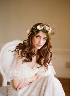 Delphine Manivet wedding gown I love the circlet. Wedding Hair Flowers, Wedding Hair And Makeup, Flowers In Hair, Bridal Hair, Wedding Gowns, Spring Flowers, Floral Wedding, Hair Wedding, Flower Hair