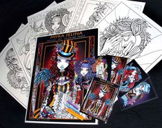 Myka Jelina Fantasy Art Coloring Pages & Trading Card Set 1 Steampunk Rockabilly Fairy Art
