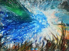 """Contemporary Artists of Florida: Contemporary Abstract Seascape Painting """"Shockwave Logic"""" by International Contemporary Seascape Artist Arrachme"""