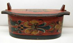 """Rare Antique/Vintage Rosemaled Folk Art  Wooden Tine/Tina Box    1800's  8 3/4"""" L x 4 1/4"""" H x 4 1/4"""" W (oval shape)    Excellent condition: fabulous painted rosemaled lid and base,easy to read word on lid (Norge), secure/tight three fingers at the joint of the oval base. sold  164.00"""