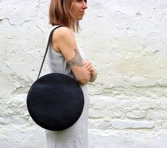 Black tote bag circle bag round leather bag leather by BogaBag