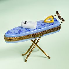 Limoges blue ironing board box with shirt#LİMOGES#