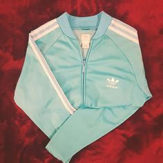 ~Cute Adidas Track~Jack'~ ~Baby Blue Adidas Track Jacket ~ Cute Feminine cut and fit ~ Perfect like new condition hardly worn ~ Great for Casual wear or covering up after Gym  Thanxxx!:) Adidas Jackets & Coats Utility Jackets
