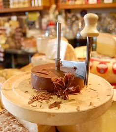 The Cheese Store of Beverly Hills: Swiss Chocolate Roulette made for us by Marianne at Coco Suisse. Pictured on a Girolle.