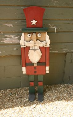 Items similar to nutcracker christmas decor wood sculpture whimsical rustic folk art on Etsy Christmas Yard Art, Christmas Wood, Christmas Decorations, Xmas, Nutcracker Crafts, Nutcracker Christmas, Popsicle Stick Art, Homemade Christmas Gifts, Christmas Illustration