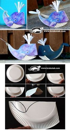 A paper plate whale craft for kids. A paper plate whale craft for kids. Paper Plate Art, Paper Plate Crafts For Kids, Paper Plates, Paper Crafts, Craft Kids, Diy Paper, Whale Crafts, Fish Crafts, Dinosaur Crafts