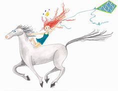 "Equestrian Horse Art-LITTLE LADY GODIVA-18""x12""Print-Redhead Girl-Teal-Tiara-Flying Kite-Galloping White/Grey Horse-Vaulting Riding-WallArt"