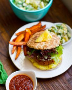 Pineapple Jerk Veggie Burgers with Cajun Sweet Potato Fries & Tropical Cool Cucumber Pineapple Salsa... Say that 3 times!