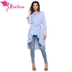 bfc567f5046 Dear Lover полосой блузка рубашка Новинки для женщин модные блузки женские  офисные осень с длинным рукавом нагрудные Высокая Низкая Belted Tunic Топ  c250364 ...