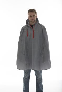 US made Electric Gingham rain cape - reflective and bike-ready