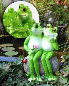 """Vogtland-Souvenir`s - Gartendeko Frosch Liebespaar """" Einzelstück"""""""