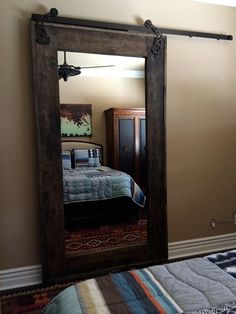 Dressing mirror and door all in one! In suite bathroom door.put mirror on back of french doors used as barn door for bedroom/bath? Rustic Mirrors, House, Home Projects, Interior, Home, Interior Barn Doors, Home Remodeling, New Homes, Home Diy