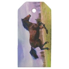 Running Brown Horse Pony Foal Western Equestrian Wooden Gift Tags - western style diy unique customize stylish