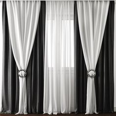 This outdoor curtains is genuinely a stunning design alternative. Big Window Curtains, Black Curtains, Outdoor Curtains, Modern Curtains, Layered Curtains, Window Blinds, Living Room Decor Curtains, Home Curtains, Living Room Windows