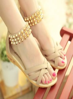 2015 women new fashion summer flat heels sandals beaded low-heeled slippers sweet gladiator wedges shoes Shoes Heels Wedges, Women's Shoes Sandals, Wedge Sandals, Wedge Shoes, Summer Sandals, Women Sandals, Flat Shoes, Beautiful Sandals, Slippers