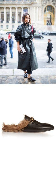 In the last year, Gucci's black leather Princetown loafers have become one of the label's most coveted accessories. They have an on-point backless silhouette that's lined with fur, and are finished with the signature gold-tone horsebit at the front. Wear them with patterned trousers and your go-to denim.