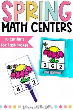 These spring themed math centers fit perfectly into photo storage boxes for wonderful grab and go centers. There are 10 centers that work on a variety of math skills so that you can pick and choose centers to differentiate to meet the needs of your students. These centers are hands-on and interactive. Each center comes in full color and ink saving black and white. These are perfect for math centers, morning tubs, or early finishers. Centers designed for Kindergarten and First Grade.