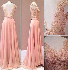 2016 Custom Made Charming Pink Chiffon Prom Dress,Lace