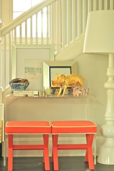 white + coral entryway via luxe + lillies