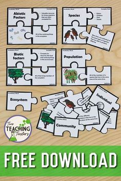 Use these ecosystem vocabulary puzzles to strengthen student understanding of the parts of an ecosystem. Activities like concept sorts allow students to practice what they have learned. Includes a worksheets quiz. Each puzzle includes an illustration, voc Biology Lessons, Science Biology, Teaching Biology, Science Lessons, Life Science, Biology Teacher, Science Lesson Plans, Forensic Science, Computer Science