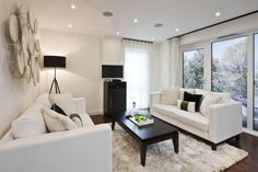 Living Room Designs, Amazing White Wall Unit For Living Room Good White Wall Curtain Nice Lamp On The Floor Small Tv Nice Black Table Good Grey Fur Rug Picture: The Cool Designs Of White Wall Units For Living Room With The Nice Furniture