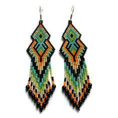 Colorful seed bead earrings   sterling silver ear by Anabel27shop,