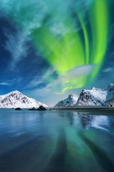 Aurora Borealis over Lofoten, Norway ….Stay cheap and comfortable on your stopover in Oslo: www.airbnb.com/rooms/1036219?guests=2&s=ja99 and https://www.airbnb.com/rooms/7806138