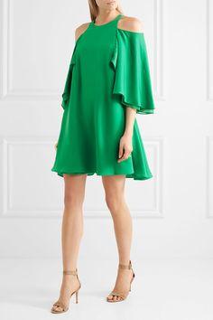 Halston Heritage - Cold-shoulder Ruffled Twill Mini Dress - Green - US