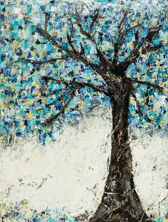 Tree Blue painting abstract art True Colors by © Kirsten Reed Art