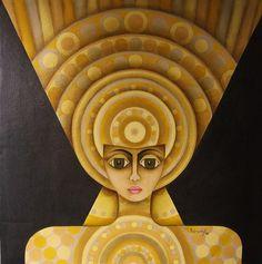 YUBECAYGUAYA. 0.67 x 0.67  2008Era la misma Chia, la misma Huitaca, esposa de Bochica, mujer hermosa aunque muy mala.Inundo a Bogota, ue castigada y convertida en la Luna, nunca veria al sol , su esposo. ii.JPG  Photographie