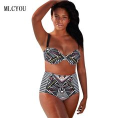 c04aed9549 2017 Sexy Print Plus Size Push Up Bikini Large Cup Bikini Set High Waist  Swimwear Summer Padded Swimsuit Beachwear Biquini XXXL