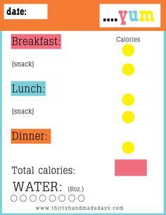 {Food} Goals, Free Printable - Thirty Handmade Days