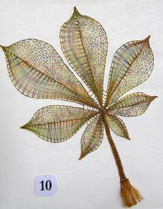 bobbin lace leaf- no tutorial Art Du Fil, Bobbin Lace Patterns, Loom Patterns, Bobbin Lacemaking, Lace Art, Textile Fiber Art, Point Lace, Linens And Lace, Needle Lace