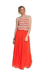 Blusa y falda en tono coral de Md´M. Nueva colección Primavera Verano moda mujer