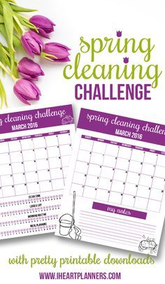 Spring Cleaning Challenge with pretty printable downloads from iheartplanners.com