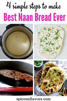 The only recipe YOU need on how to make naan bread at home like a PRO. Make Indian restaurant style Butter/Garlic Naan at home in just 4 simple steps. Make Naan Bread, How To Make Naan, Homemade Naan Bread, Recipes With Naan Bread, Vegetarian Recipes Easy, Lunch Recipes, Easy Dinner Recipes, Indian Food Recipes, Ethnic Recipes