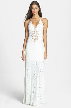 Sky Lace Inset Embroidered Eyelet Halter Maxi Dress | Nordstrom