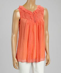Look what I found on #zulily! Salmon Ruffle Silk-Blend Sleeveless Top by Aryeh #zulilyfinds