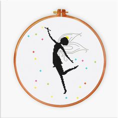 Fairy Silhouette cross stitch pattern Easy fairy by ThuHaDesign
