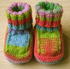 Baby Boots-This pattern is available as a free Ravelry download. These Baby Boots are knitted in sockweight 4 ply yarn and the foot is about 8 cm long. Larger sizes can be made by adjusting the needle size and the foot is worked in a stocking stitch welt to allow for growth. The boots are worked in one piece and then joined along the back of the cuff and the middle of the sole.