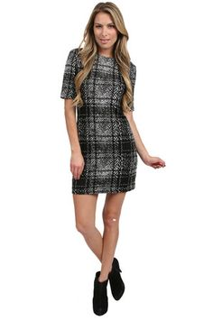 The Animal Jersey Dress in Black/White Multi by 4.Collective at CoutureCandy.com