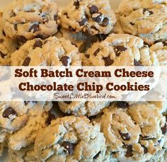 Soft, chewy, loaded with semi-sweet chocolate chips - Soft Batch Cream Cheese Chocolate Chip Cookies is a winning recipe for cook...