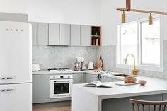 The norsuHOME - Kitchen Photographer: Lisa Cohen Stylist: Beck Simon Paint: Dulux Vivid White Tiles: Lisa's Kitchen, White Kitchen Cabinets, Kitchen Ideas, Kitchen Pics, Kitchen Layouts, Kitchen Modern, Kitchen Inspiration, Scandi Home, Scandi Style