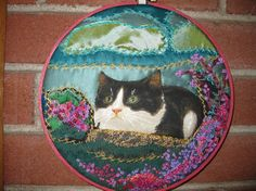 Crazy QuiltWall hanging   Lovely Cat in a Pink by Clarazelli, $50.00