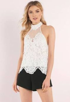 Tobi | Above All White Lace High Neck Halter Top | M | Blouse ...