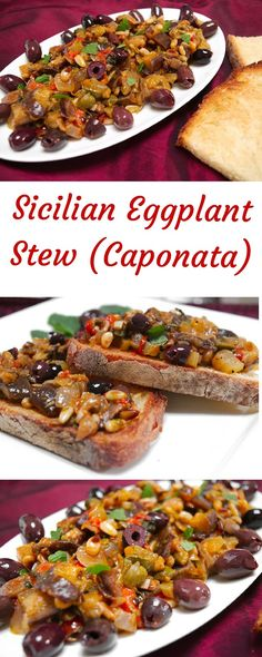Sicilian Eggplant Stew with Herbs (Caponata) Laura Lee, Vegan Recipes, Cooking Recipes, Fast Recipes, Italian Dishes, Italian Bread, Italian Foods, Soups And Stews, Vegetable Recipes