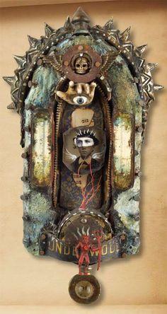 assemblage of Michael deMeng: Michael the Archangel Found Object Art, Found Art, Mixed Media Collage, Collage Art, Kitsch, Assemblage Art, Religious Art, Box Art, Altered Art