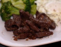 Beef Hearts - panfried in bacon grease with onion.  AIP Paleo friendly.